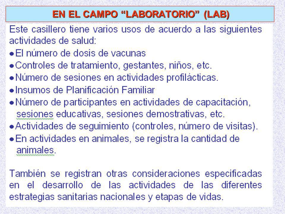 EN EL CAMPO LABORATORIO (LAB) EN EL CAMPO LABORATORIO (LAB)