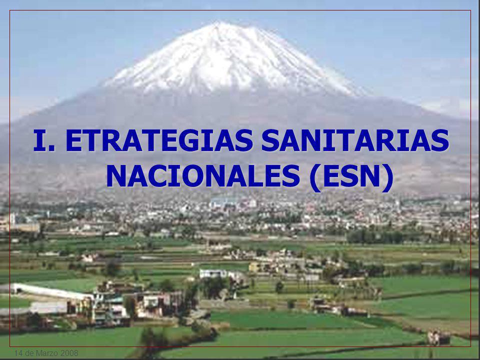 14 de Marzo 2008 I. ETRATEGIAS SANITARIAS NACIONALES (ESN)