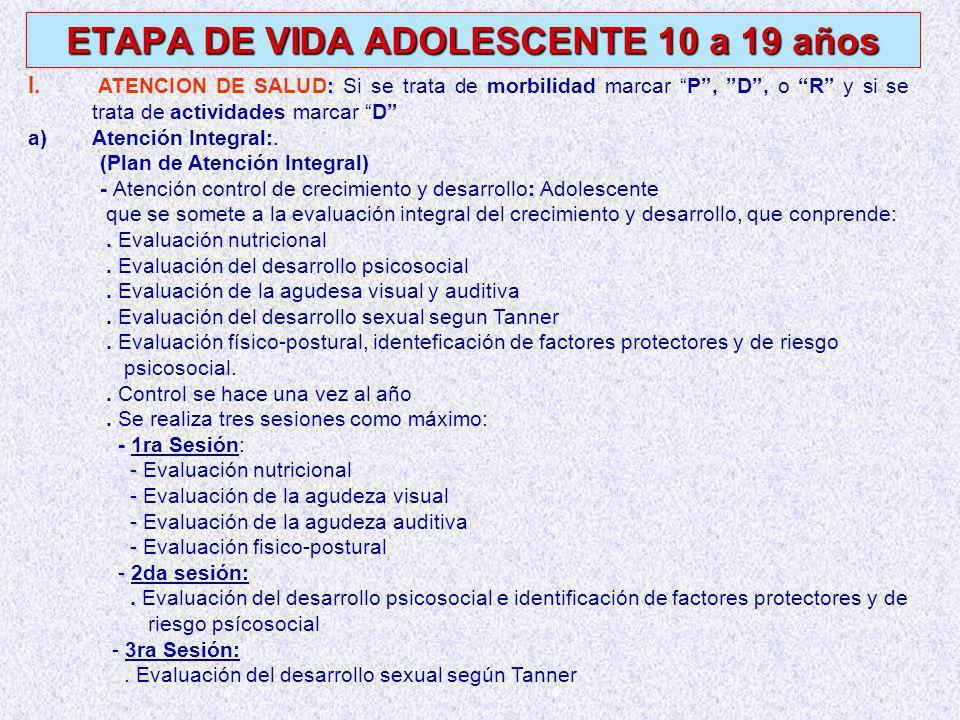ETAPA DE VIDA ADOLESCENTE 10 a 19 años : I.