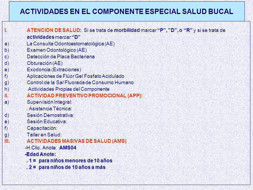 ACTIVIDADES EN EL COMPONENTE ESPECIAL SALUD BUCAL I.: I.ATENCION DE SALUD: Si se trata de morbilidad marcar P, D, o R y si se trata de actividades marcar D a) La Consulta Odontoestomatológica (AE) b) b)Examen Odontológico (AE) c) c)Detección de Placa Bacteriana d) d)Obturación (AE) e) e)Exodoncia (Extraciones) f) f)Aplicaciones de Flúor Gel Fosfato Acidulado g) g)Control de la Sal Fluorada de Consumo Humano h) h) Actividades Propias del Componente II.