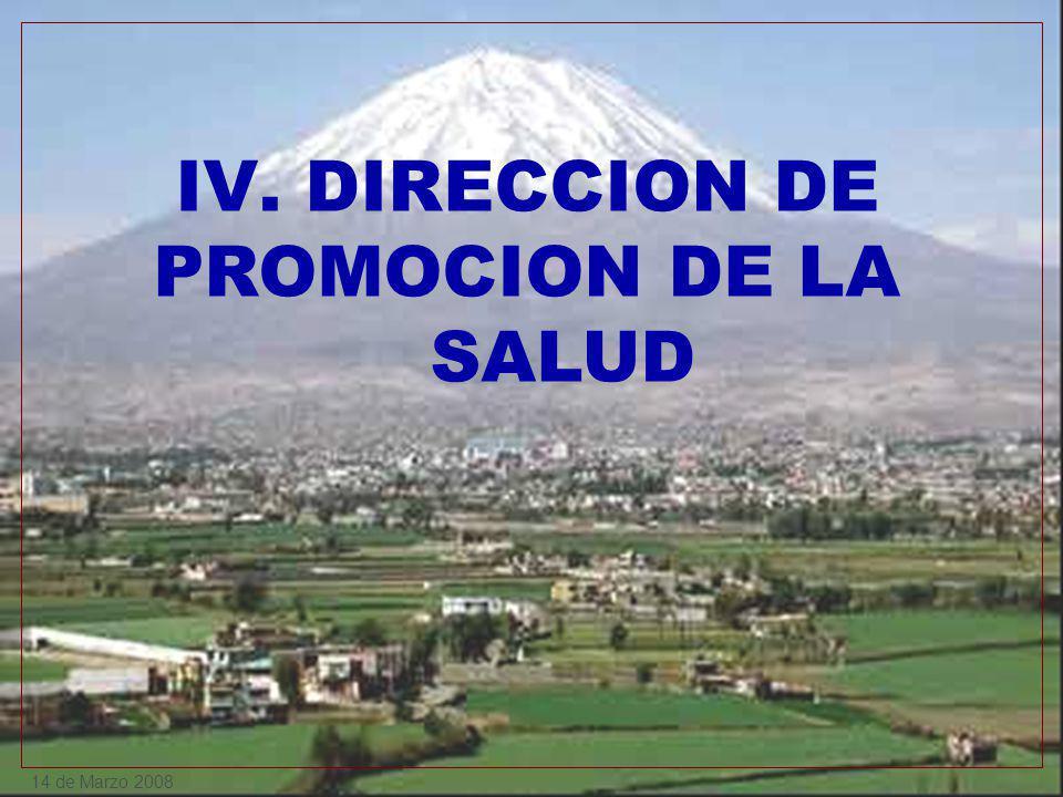 14 de Marzo 2008 IV. DIRECCION DE PROMOCION DE LA SALUD