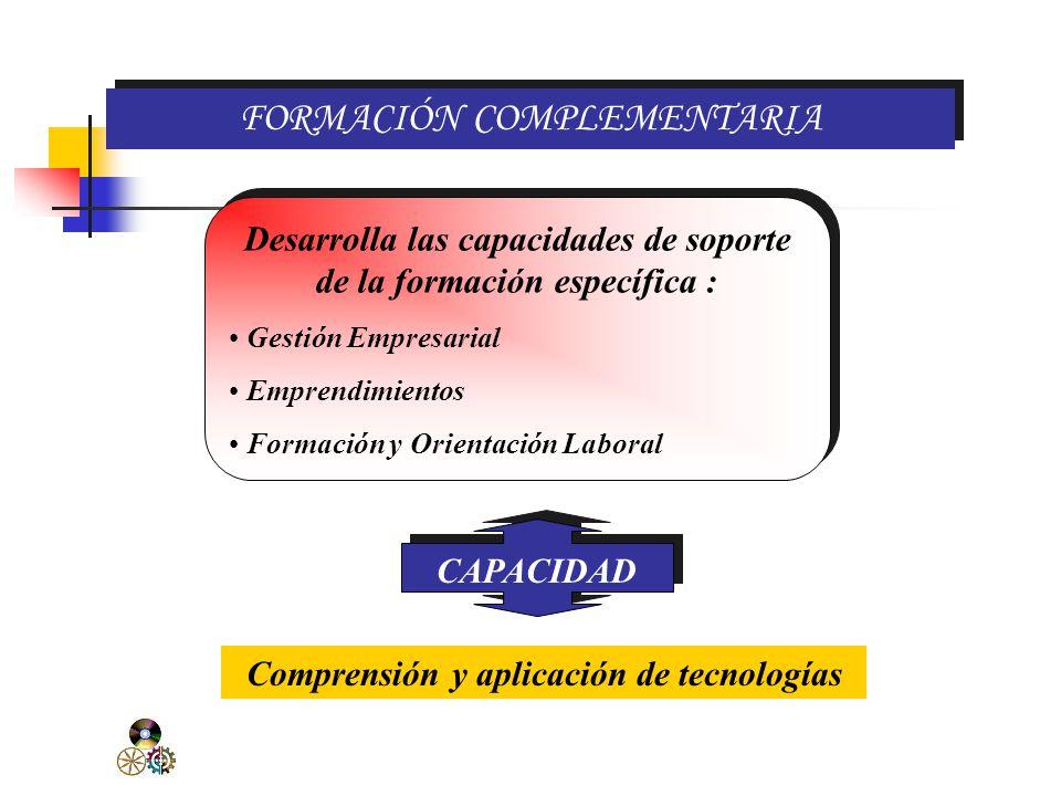FORMACIÓN ESPECÍFICA Prepara al estudiante en el desarrollo de capacidades especificas del módulo ocupacional, para que adquiera una sólida calificación profesional.