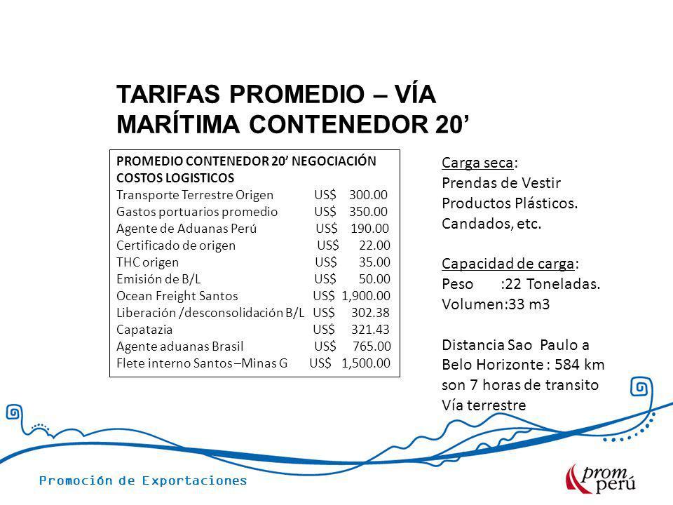 Promoción de Exportaciones TARIFAS PROMEDIO – VÍA MARÍTIMA CONTENEDOR 20 PROMEDIO CONTENEDOR 20 NEGOCIACIÓN COSTOS LOGISTICOS Transporte Terrestre Ori