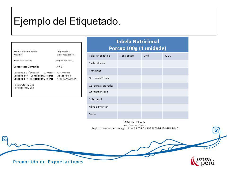 Promoción de Exportaciones Ejemplo del Etiquetado. Tabela Nutricional Porcao 100g (1 unidade) Valor energéticoPor porcaoUnd% DV Carboidratos Proteinas