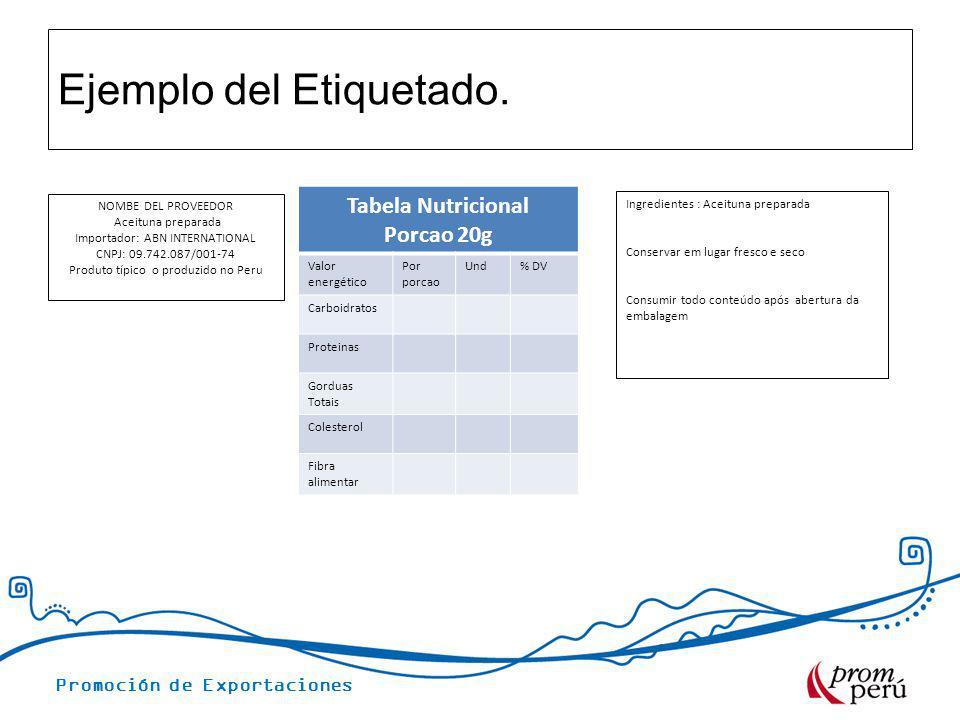 Promoción de Exportaciones Ejemplo del Etiquetado. NOMBE DEL PROVEEDOR Aceituna preparada Importador: ABN INTERNATIONAL CNPJ: 09.742.087/001-74 Produt