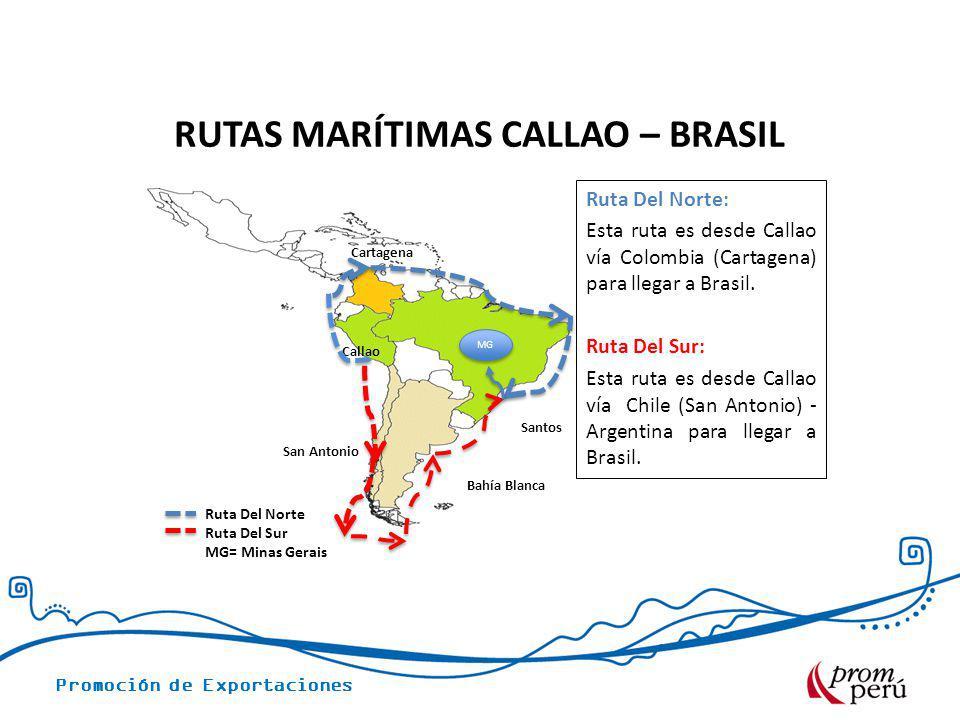 Promoción de Exportaciones RUTAS MARÍTIMAS CALLAO – BRASIL San Antonio Callao Cartagena Ruta Del Norte Ruta Del Sur MG= Minas Gerais Ruta Del Norte: E