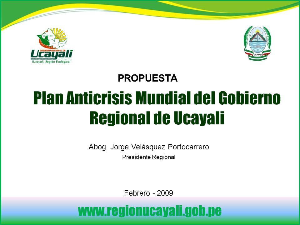 www.regionucayali.gob.pe Plan Anticrisis Mundial del Gobierno Regional de Ucayali PROPUESTA Abog.