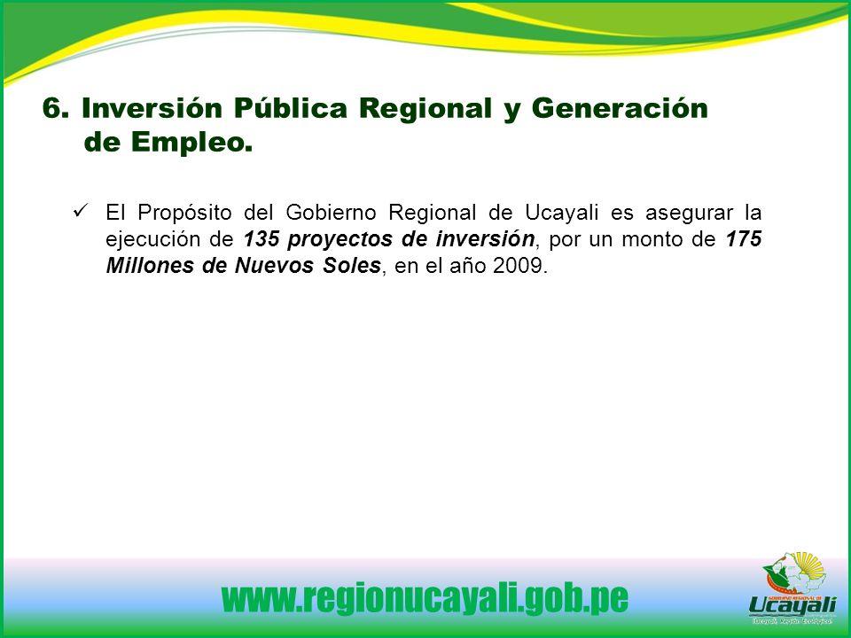 www.regionucayali.gob.pe 6.Inversión Pública Regional y Generación de Empleo.