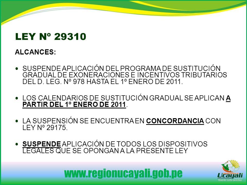 www.regionucayali.gob.pe ALCANCES: SUSPENDE APLICACIÓN DEL PROGRAMA DE SUSTITUCIÓN GRADUAL DE EXONERACIONES E INCENTIVOS TRIBUTARIOS DEL D.