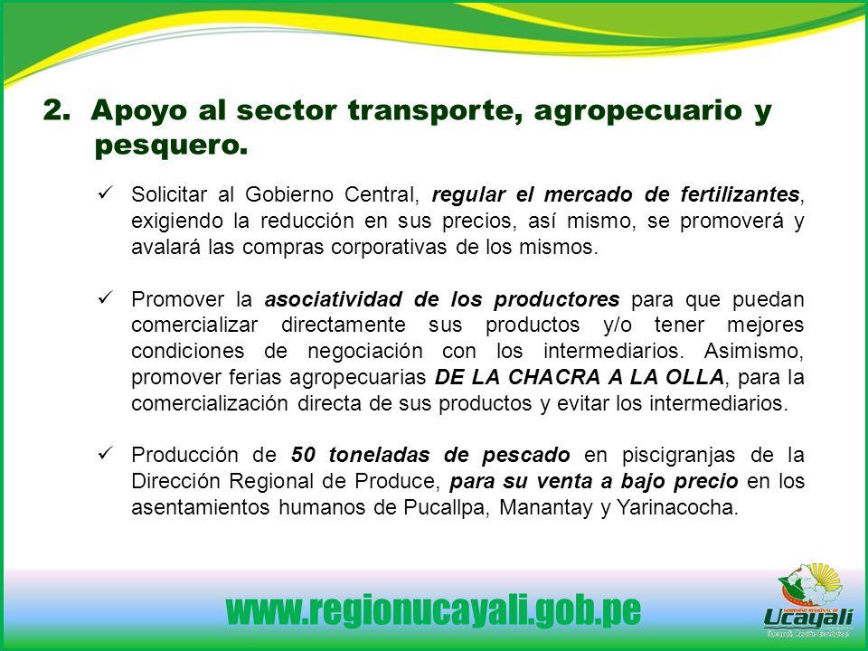 www.regionucayali.gob.pe Solicitar al Gobierno Central, regular el mercado de fertilizantes, exigiendo la reducción en sus precios, así mismo, se promoverá y avalará las compras corporativas de los mismos.