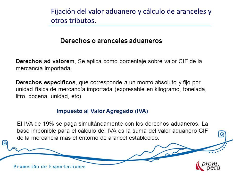 Promoción de Exportaciones Derechos o aranceles aduaneros Fijación del valor aduanero y cálculo de aranceles y otros tributos.