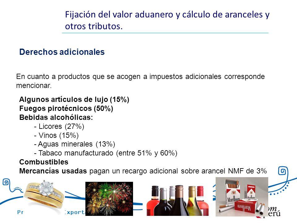 Promoción de Exportaciones Fijación del valor aduanero y cálculo de aranceles y otros tributos. Derechos adicionales Algunos artículos de lujo (15%) F