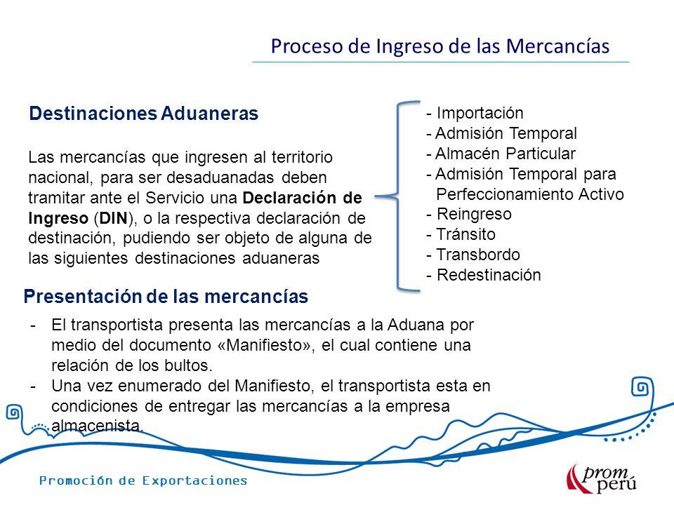 Promoción de Exportaciones Proceso de Ingreso de las Mercancías Presentación de las mercancías -El transportista presenta las mercancías a la Aduana por medio del documento «Manifiesto», el cual contiene una relación de los bultos.