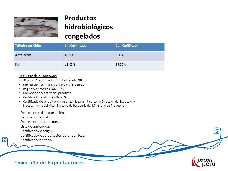 Promoción de Exportaciones Tributos en ChileSin CertificadoCon Certificado Advalorem6.00%0.00% IVA19.00% Requisito de exportacion : Sanitarios: Certificaci on Sanitario (SANIPES) Habilitacion sanitaria de la planta (SANIPES) Registro de rotulo (SANIPES) Memoria descriptiva del producto.