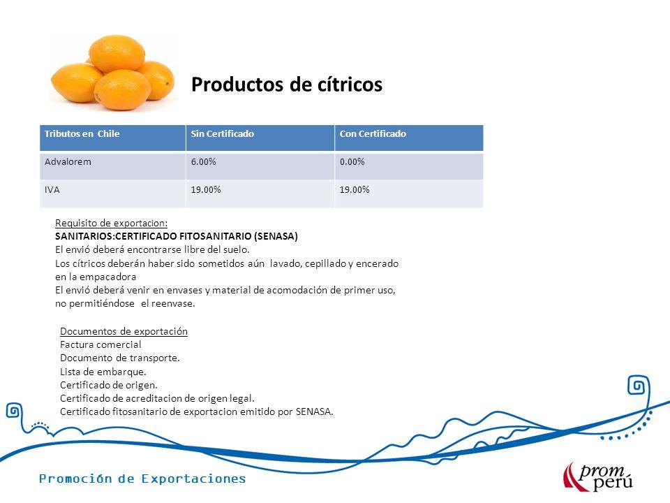 Promoción de Exportaciones Tributos en ChileSin CertificadoCon Certificado Advalorem6.00%0.00% IVA19.00% Requisito de exportacion : SANITARIOS:CERTIFICADO FITOSANITARIO (SENASA) El envió deberá encontrarse libre del suelo.