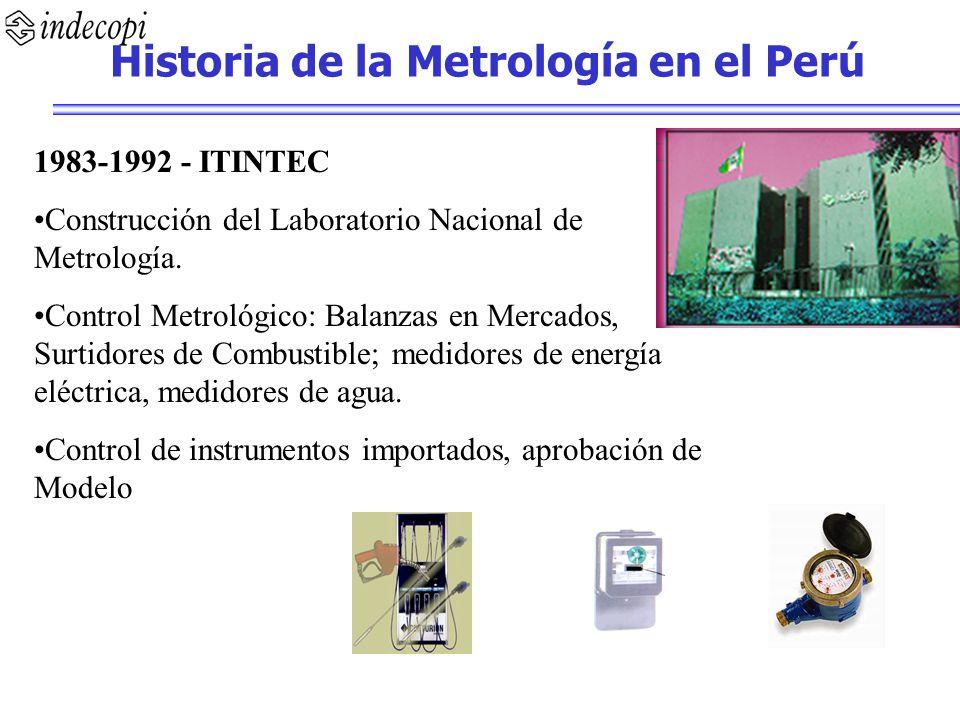1983-1992 - ITINTEC Construcción del Laboratorio Nacional de Metrología. Control Metrológico: Balanzas en Mercados, Surtidores de Combustible; medidor