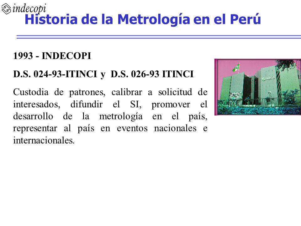 1993 - INDECOPI D.S. 024-93-ITINCI y D.S. 026-93 ITINCI Custodia de patrones, calibrar a solicitud de interesados, difundir el SI, promover el desarro
