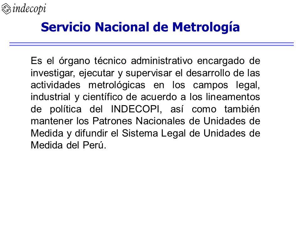 Servicio Nacional de Metrología Es el órgano técnico administrativo encargado de investigar, ejecutar y supervisar el desarrollo de las actividades me