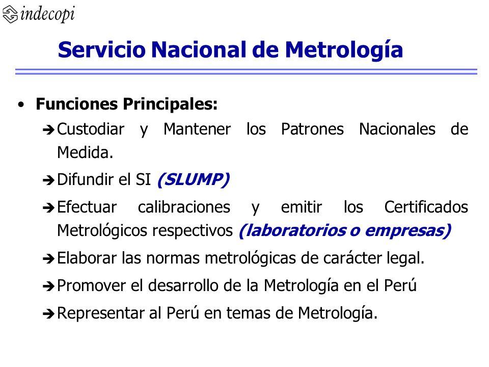 Funciones Principales: Custodiar y Mantener los Patrones Nacionales de Medida. Difundir el SI (SLUMP) Efectuar calibraciones y emitir los Certificados