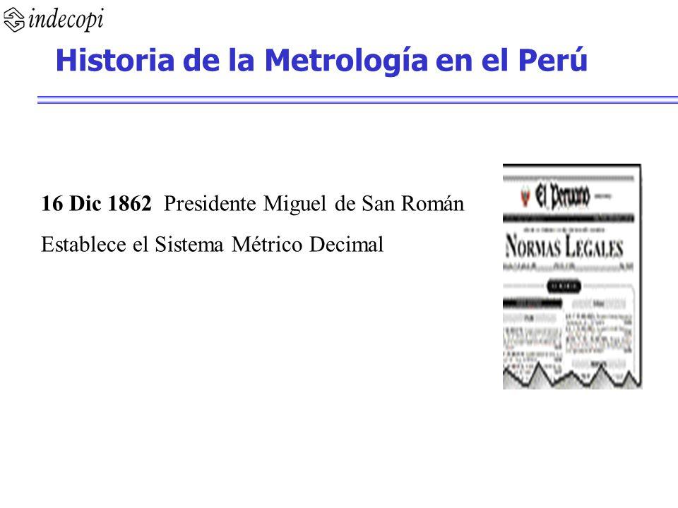 16 Dic 1862 Presidente Miguel de San Román Establece el Sistema Métrico Decimal Historia de la Metrología en el Perú