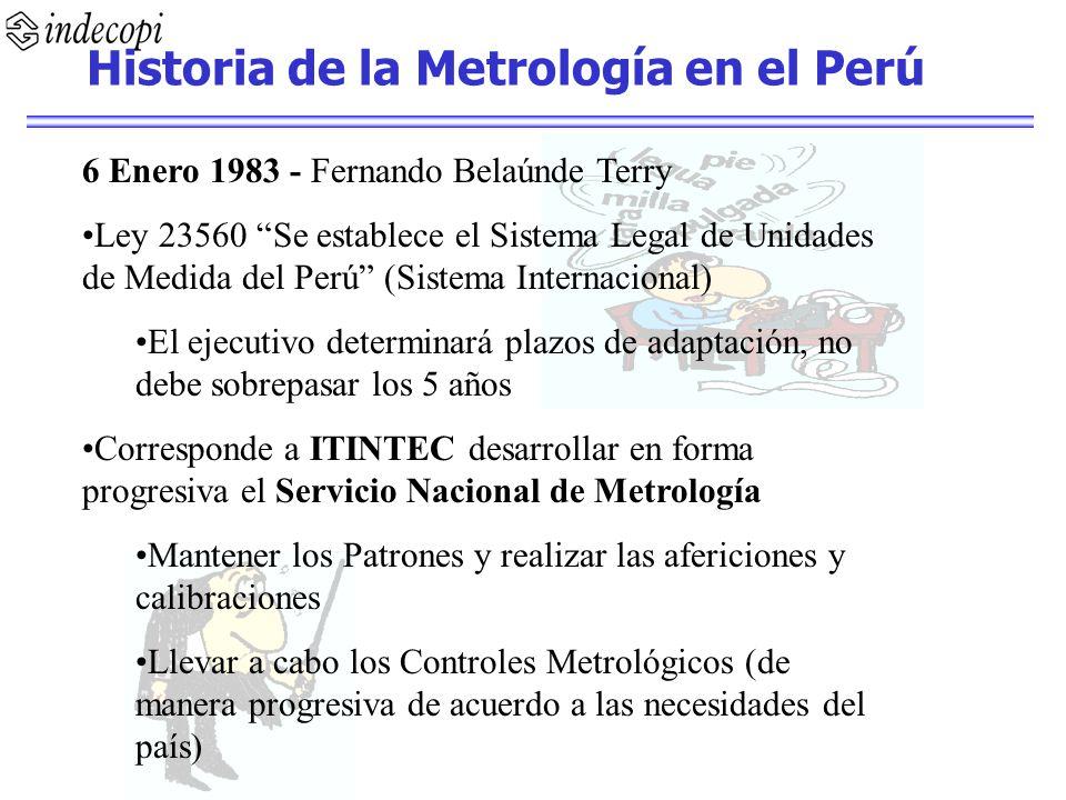 6 Enero 1983 - Fernando Belaúnde Terry Ley 23560 Se establece el Sistema Legal de Unidades de Medida del Perú (Sistema Internacional) El ejecutivo det
