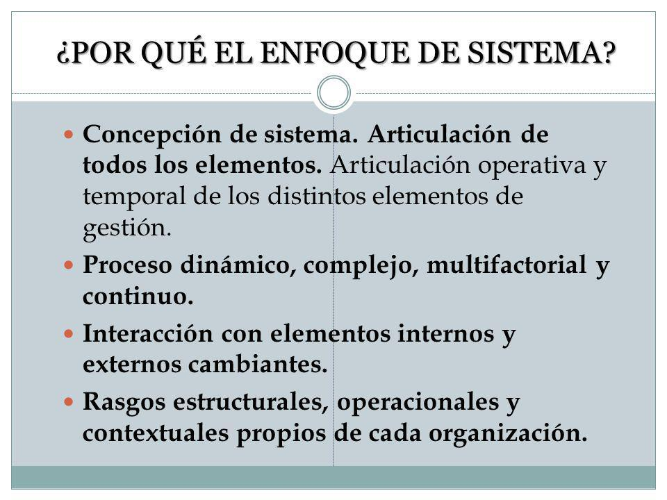 ENFOQUE PROGRAMA VS SISTEMA Focalizado en el cumplimiento con las normas Enfoque ad hoc Cierta autonomía de otras áreas Proceso lineal, consecución de