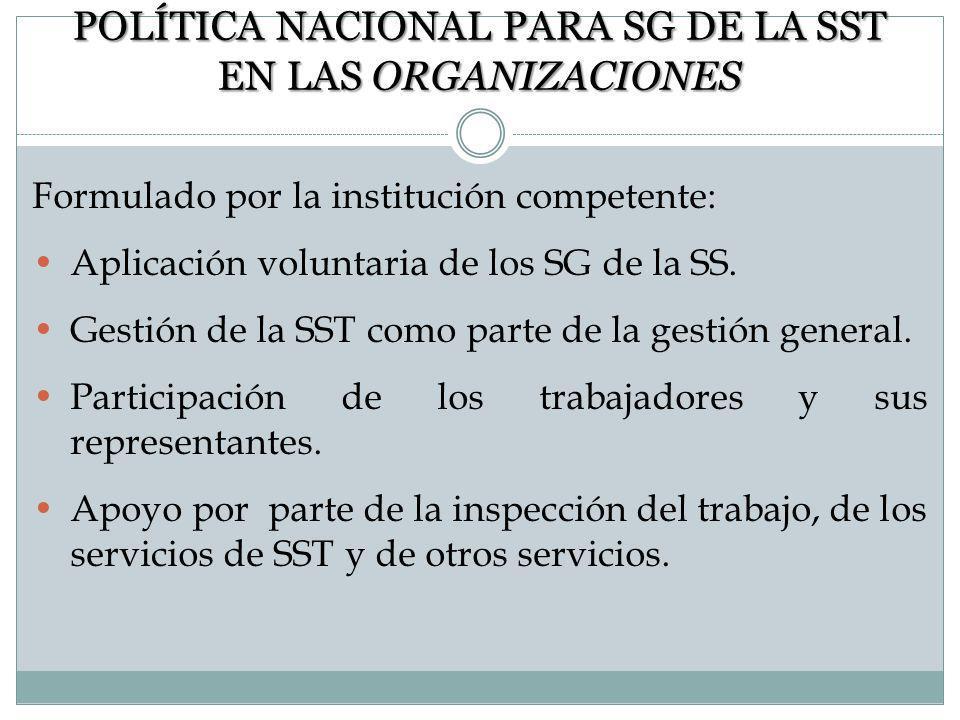 MARCO NACIONAL DEL SG DE LA SST Formulación de una política nacional para SG de la SST. Establecimiento de un marco nacional. Implementación. Directri