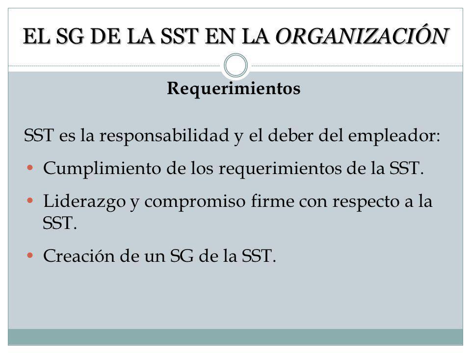 MARCO NACIONAL DE LOS SG DE LA SST EN ORGANIZACIONES Aplicación de la política nacional. Adaptación de la ILO/OSH 2001 a: o Directrices nacionales (co