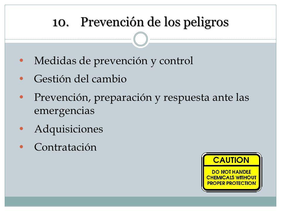 10. Prevención de los peligros Éstos son los métodos proactivos para la valoración de los peligros y los riesgos relacionados con el trabajo-. Estos m
