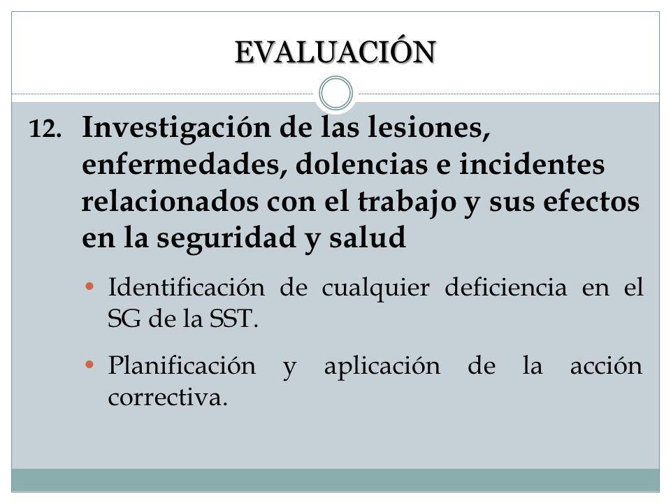 11. Supervisión y medición del desempeño El funcionamiento de SST se debe valorar a intervalos regulares. Desarrollar procedimientos que aseguren la v
