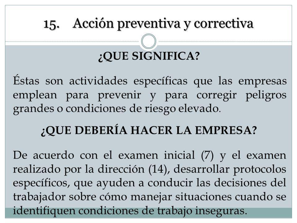 Acción en PRO de Mejoras 15. Acción preventiva y correctiva Disposiciones basadas en los resultados de la vigilancias de la eficiencia del SG de la SS