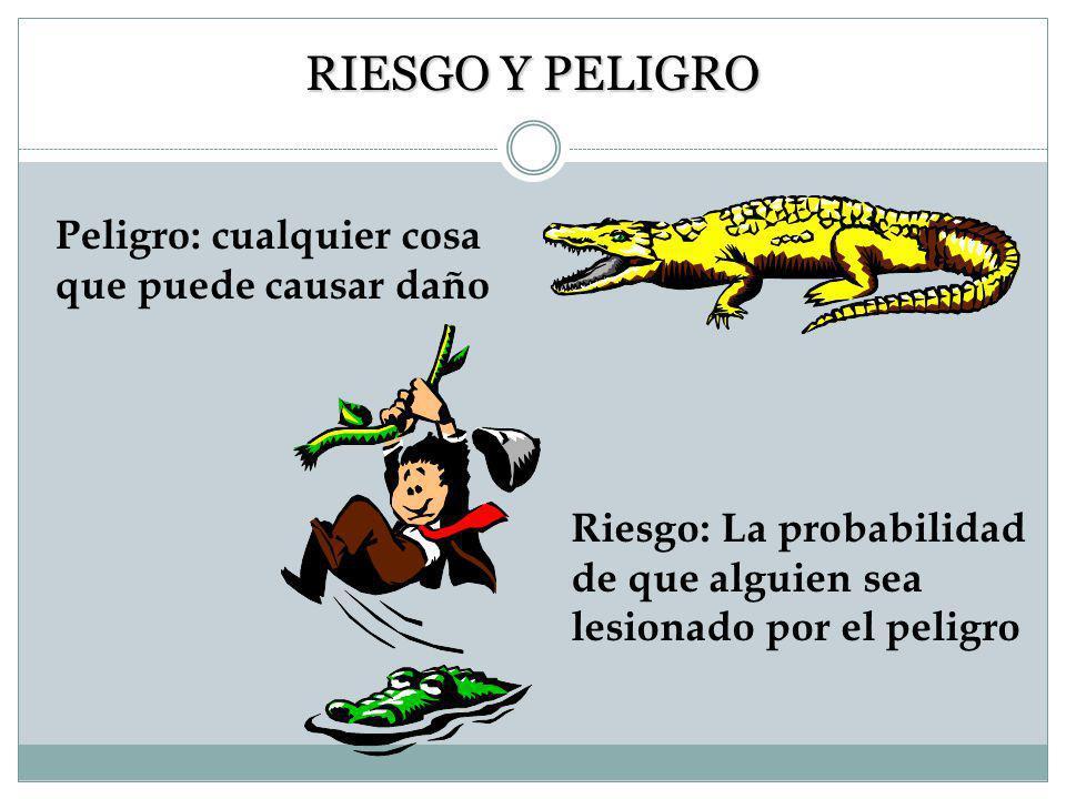RIESGO Y PELIGRO Peligro: cualquier cosa que puede causar daño Riesgo: La probabilidad de que alguien sea lesionado por el peligro