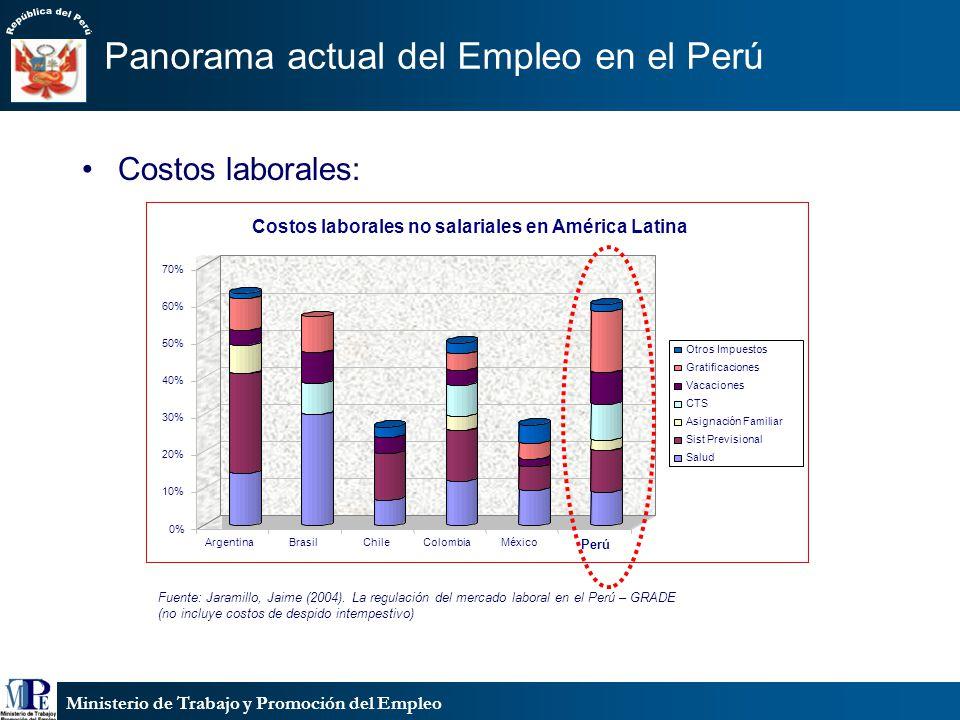 Ministerio de Trabajo y Promoción del Empleo Panorama actual del Empleo en el Perú Fuente: Jaramillo, Jaime (2004). La regulación del mercado laboral