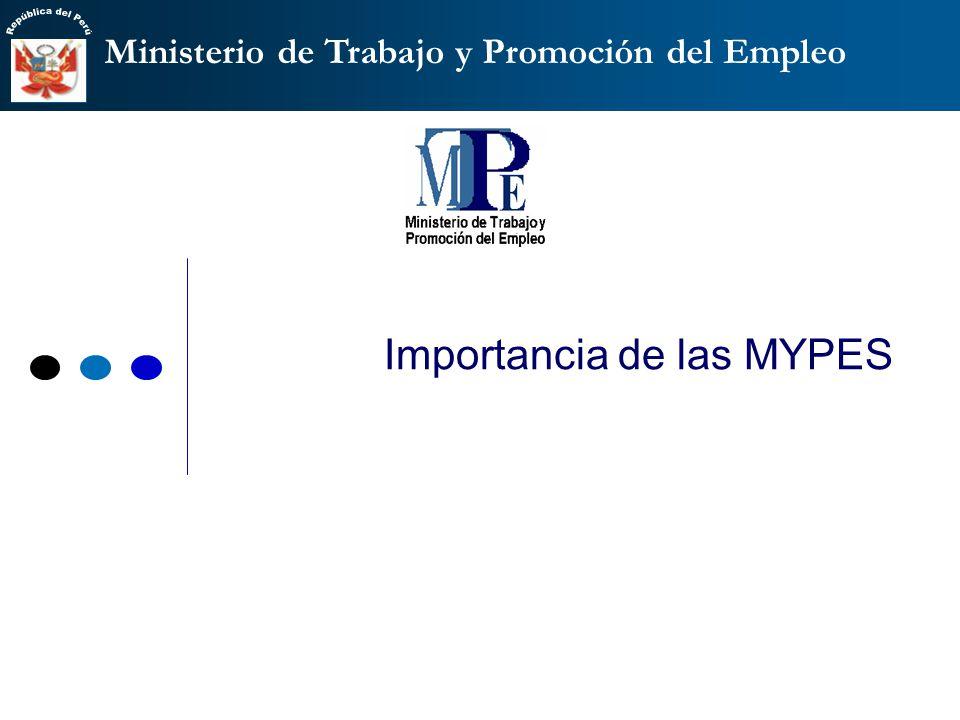 Ministerio de Trabajo y Promoción del Empleo Importancia de las MYPES