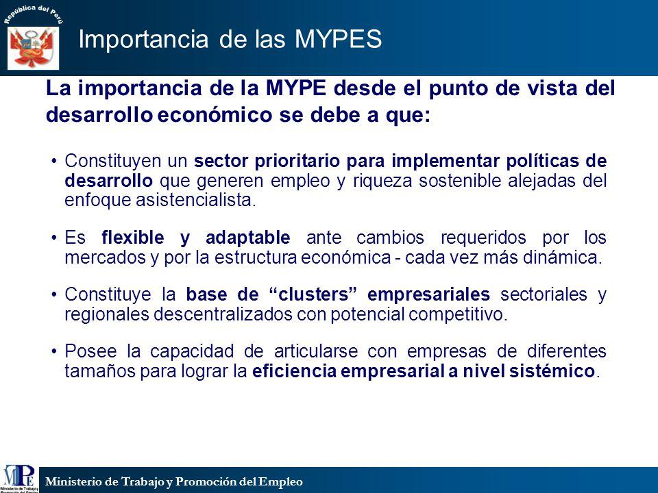 Ministerio de Trabajo y Promoción del Empleo La importancia de la MYPE desde el punto de vista del desarrollo económico se debe a que: Constituyen un
