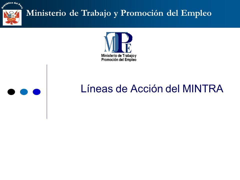 Ministerio de Trabajo y Promoción del Empleo Líneas de Acción del MINTRA