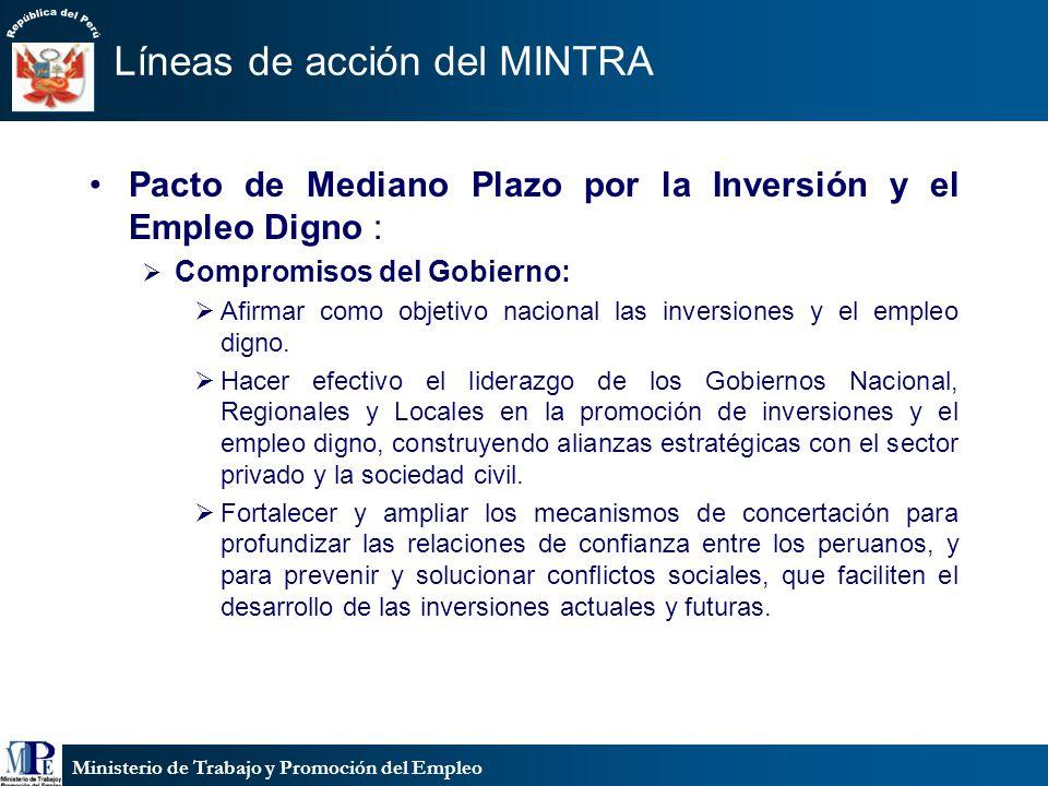 Ministerio de Trabajo y Promoción del Empleo Líneas de acción del MINTRA Pacto de Mediano Plazo por la Inversión y el Empleo Digno : Compromisos del G