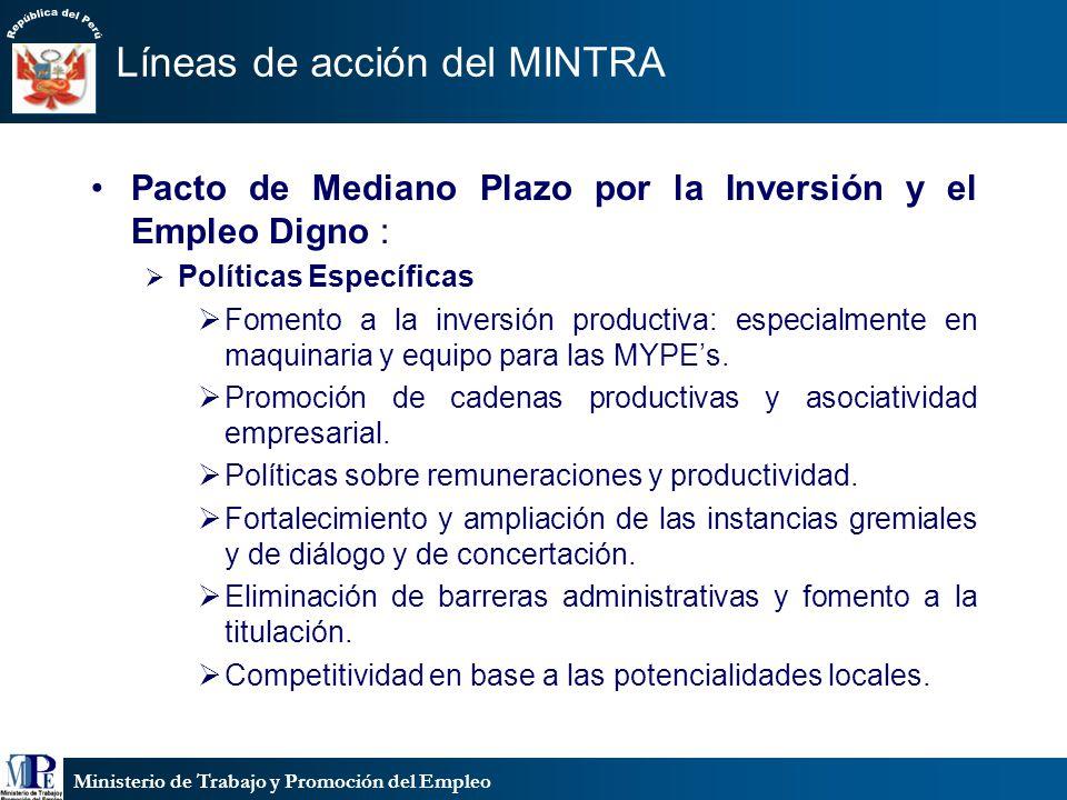 Ministerio de Trabajo y Promoción del Empleo Líneas de acción del MINTRA Pacto de Mediano Plazo por la Inversión y el Empleo Digno : Políticas Específ