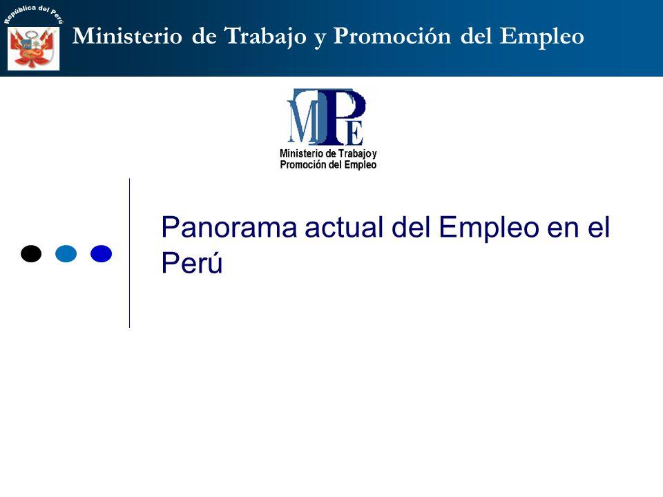 Ministerio de Trabajo y Promoción del Empleo Panorama actual del Empleo en el Perú