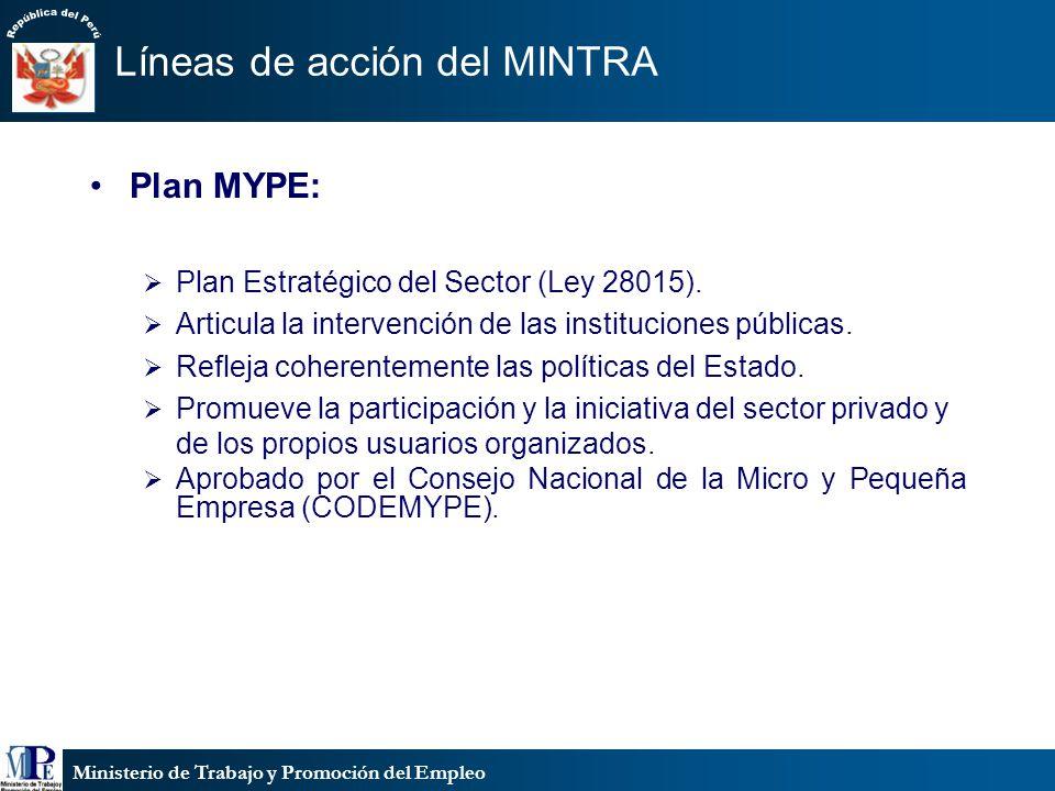 Ministerio de Trabajo y Promoción del Empleo Líneas de acción del MINTRA Plan MYPE: Plan Estratégico del Sector (Ley 28015). Articula la intervención