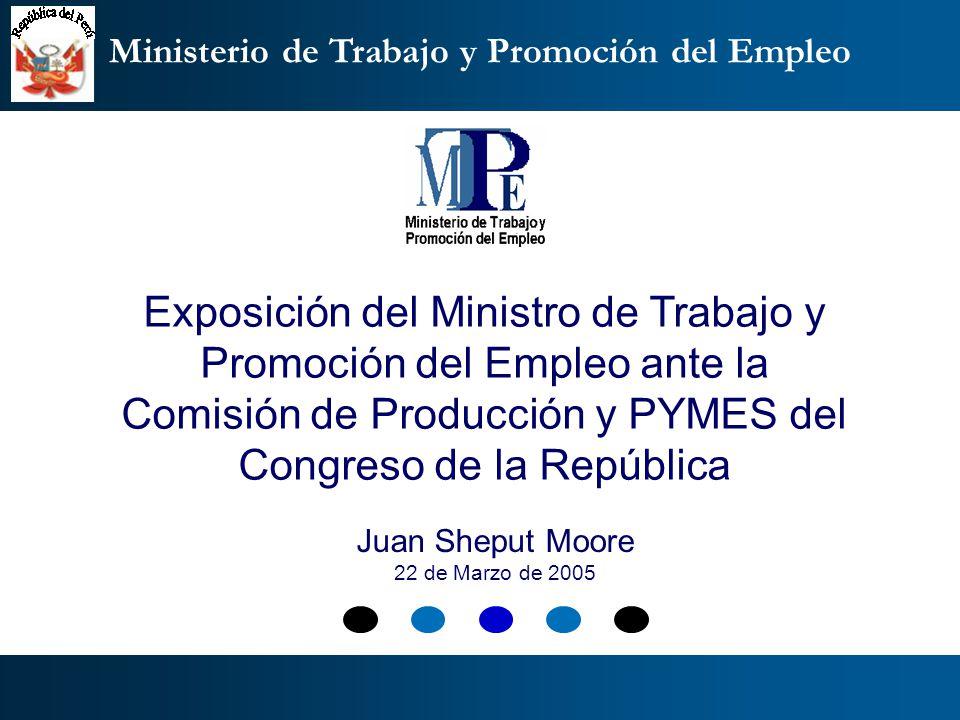 Ministerio de Trabajo y Promoción del Empleo Exposición del Ministro de Trabajo y Promoción del Empleo ante la Comisión de Producción y PYMES del Cong
