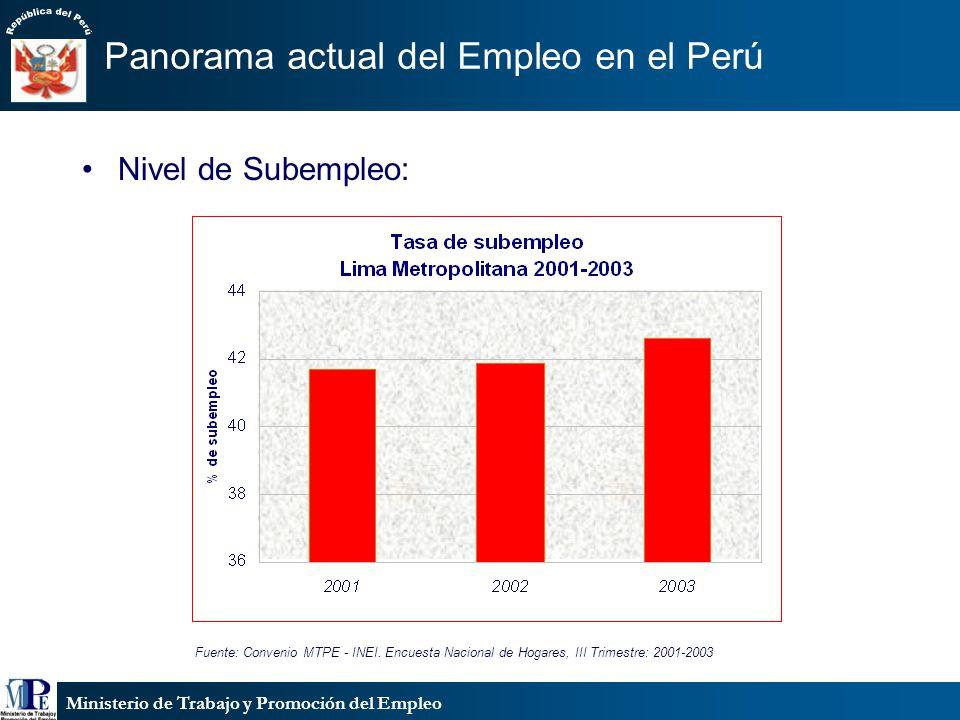 Ministerio de Trabajo y Promoción del Empleo Panorama actual del Empleo en el Perú Fuente: Convenio MTPE - INEI. Encuesta Nacional de Hogares, III Tri