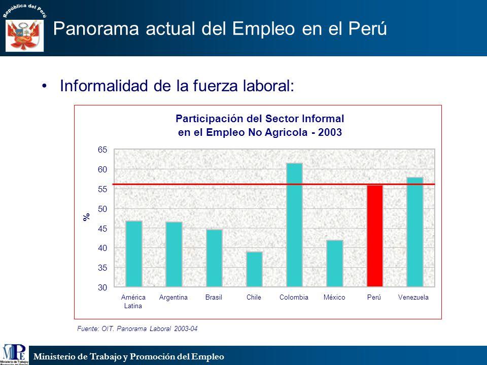 Ministerio de Trabajo y Promoción del Empleo Panorama actual del Empleo en el Perú Informalidad de la fuerza laboral: Fuente: OIT. Panorama Laboral 20