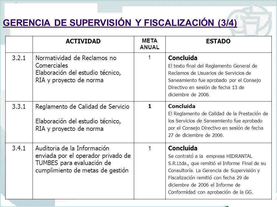 GERENCIA DE SUPERVISIÓN Y FISCALIZACIÓN (3/4) ACTIVIDAD META ANUAL ESTADO 3.2.1Normatividad de Reclamos no Comerciales Elaboración del estudio técnico