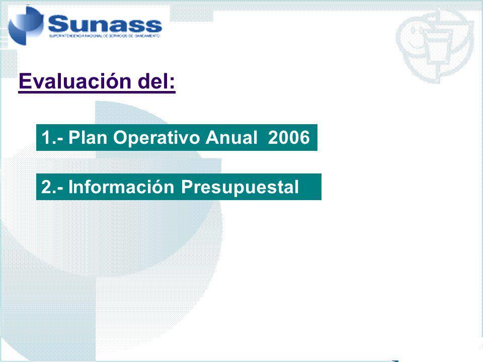 1.- Plan Operativo Anual 2006 2.- Información Presupuestal Evaluación del: