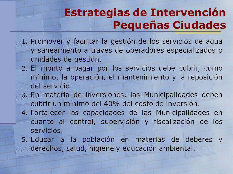 Estrategias de Intervención Pequeñas Ciudades 1. Promover y facilitar la gestión de los servicios de agua y saneamiento a través de operadores especia