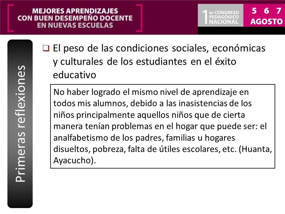 El peso de las condiciones sociales, económicas y culturales de los estudiantes en el éxito educativo Primeras reflexiones No haber logrado el mismo n