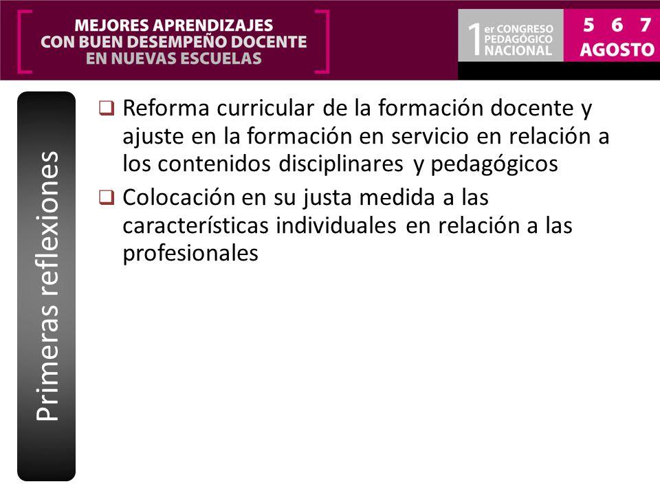 Reforma curricular de la formación docente y ajuste en la formación en servicio en relación a los contenidos disciplinares y pedagógicos Colocación en