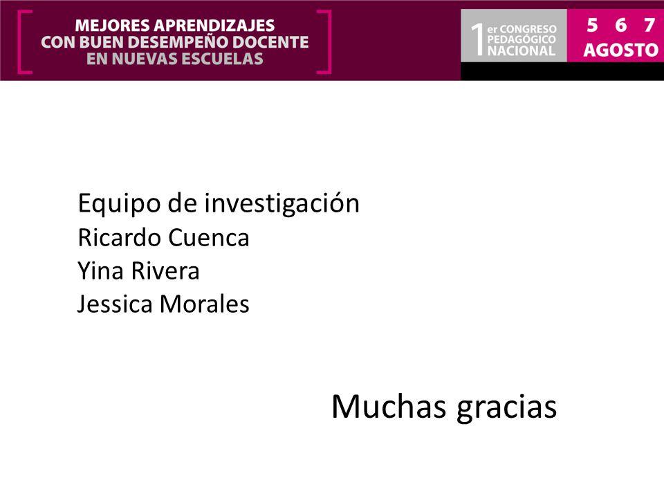 Muchas gracias Equipo de investigación Ricardo Cuenca Yina Rivera Jessica Morales