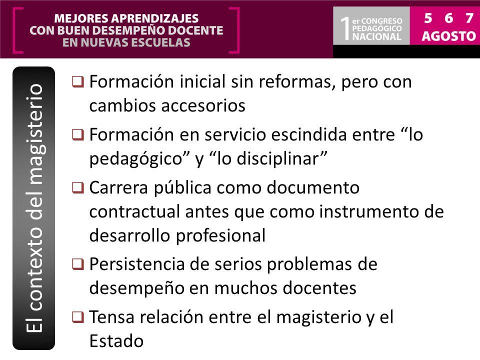 Formación inicial sin reformas, pero con cambios accesorios Formación en servicio escindida entre lo pedagógico y lo disciplinar Carrera pública como